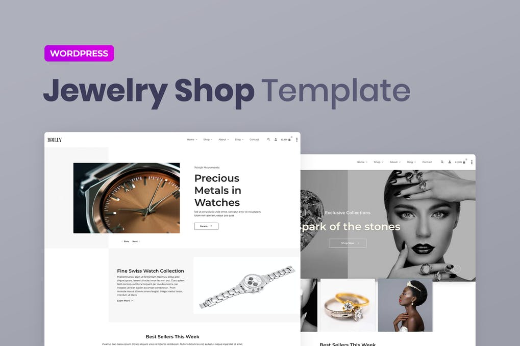 Brilly Jewelry Store WooCommerce Elementor Template Kit