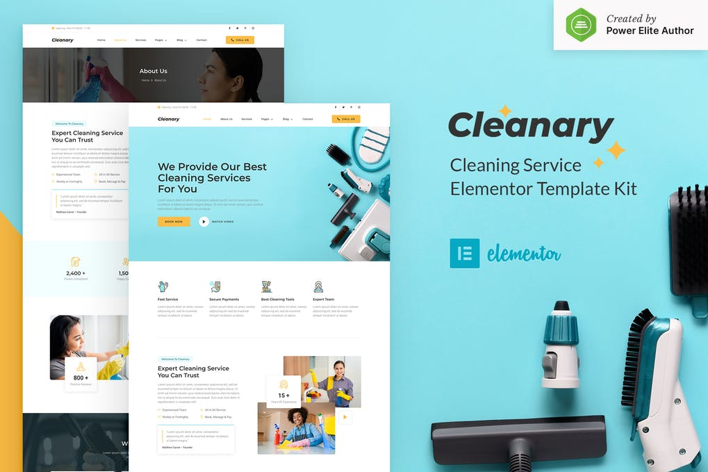 Cleanary - Cleaning Service Company Elementor Template Kit