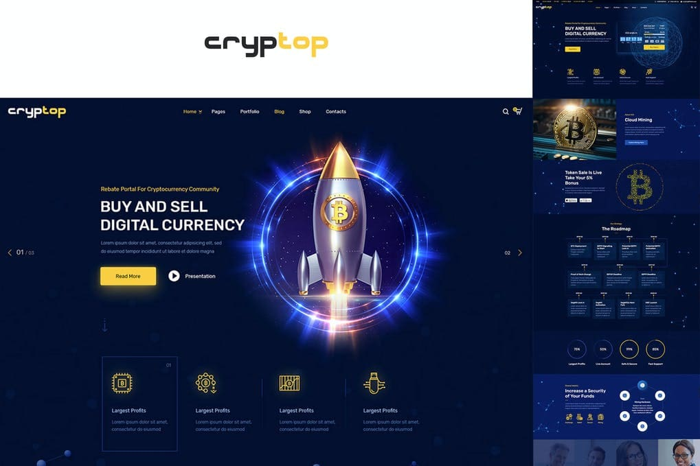CrypTop - ICO Landing and CryptoCurrency WordPress