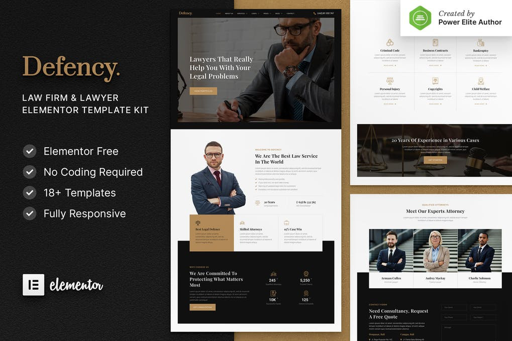 Defency Law Firm & Lawyer Elementor Template Kit