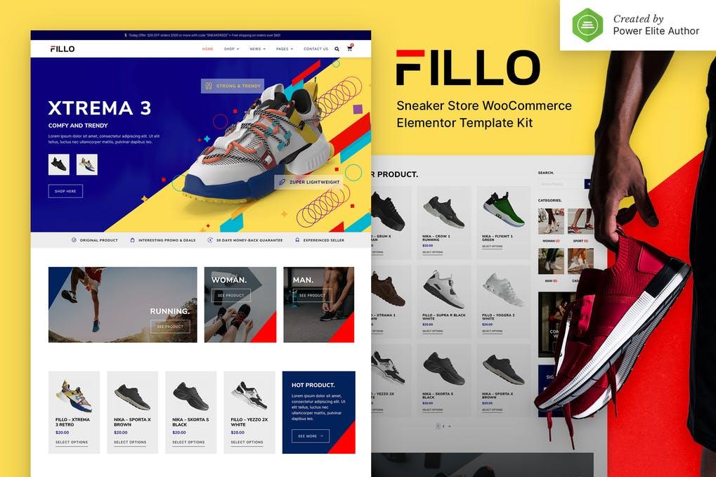 Fillo Shoes & Sneakers Store WooCommerce Elementor Template Kit