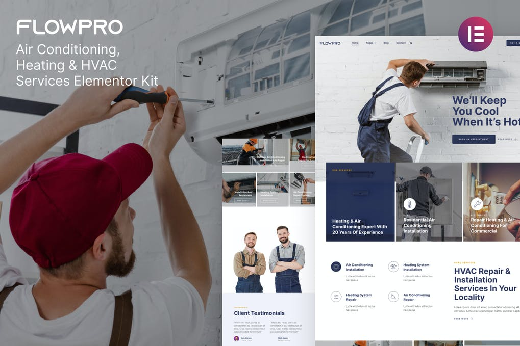 FlowPro Air Conditioning Heating & HVAC Services Elementor Template Kit
