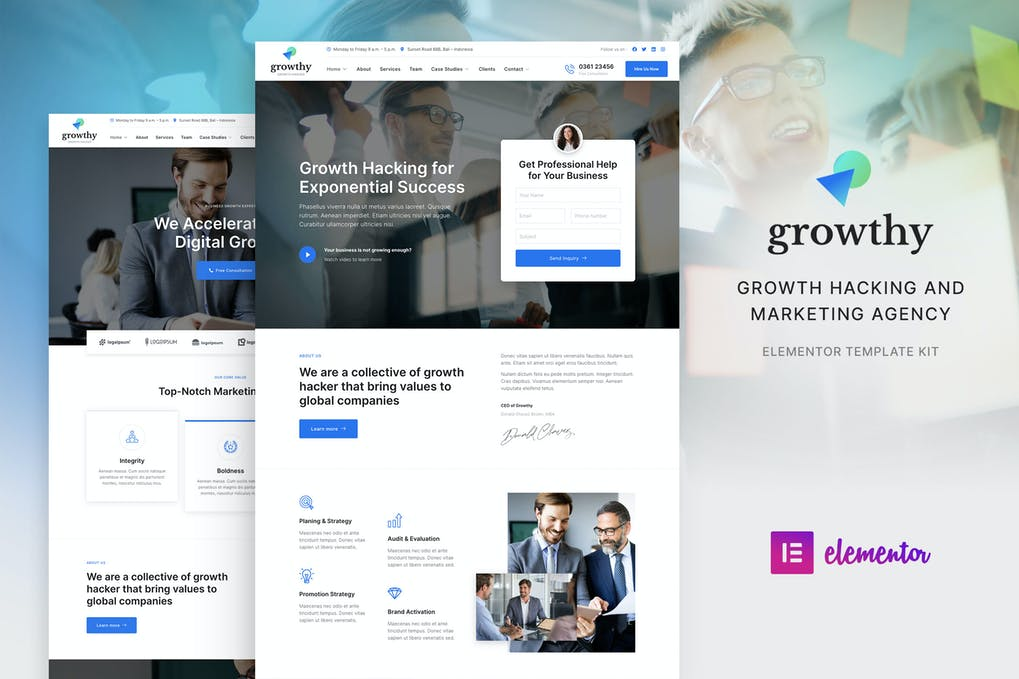 Growthy Growth Hacking & Marketing Agency Elementor Template Kit