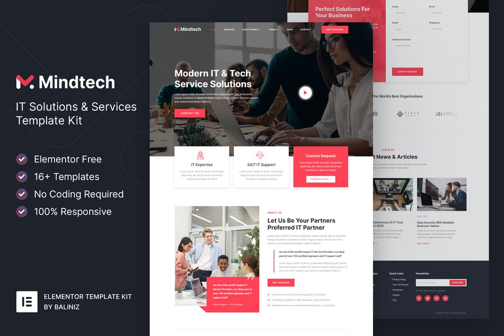 Mindtech IT Solutions & Services Company Elementor Template Kit