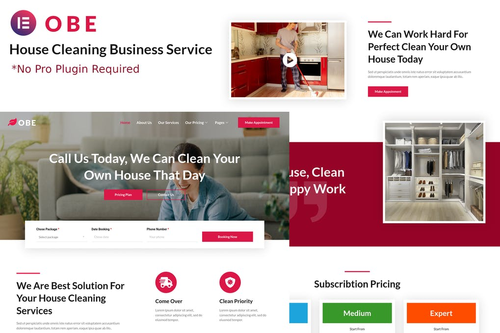 Obe - House Cleaning Business Elementor Template kit