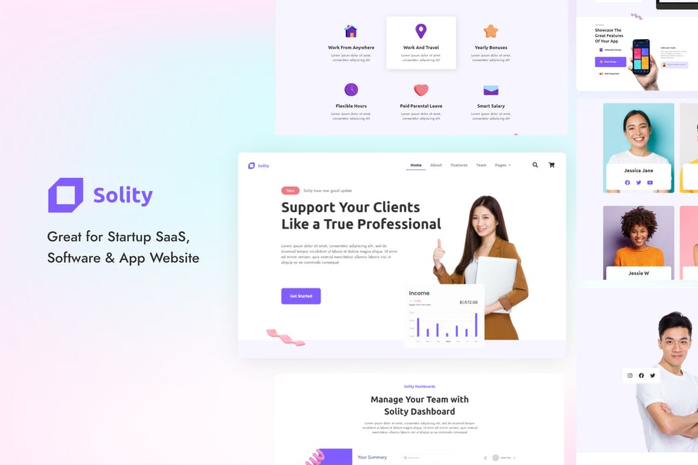 Solity | Startup SaaS Elementor Template Kit