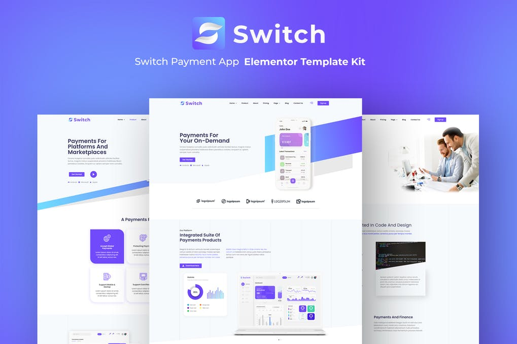Switch - Payment App Elementor Template Kit