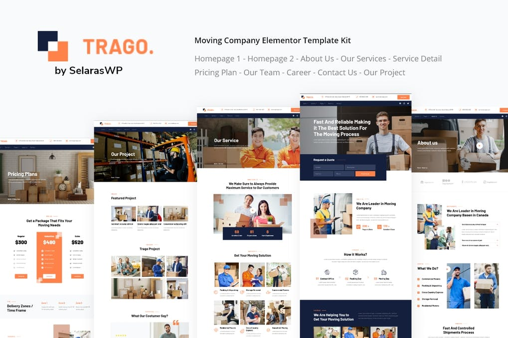 Trago | Moving Company Elementor Template Kit