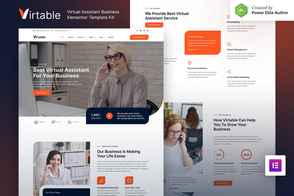 Virtable Virtual Assistant Business Elementor Template Kit