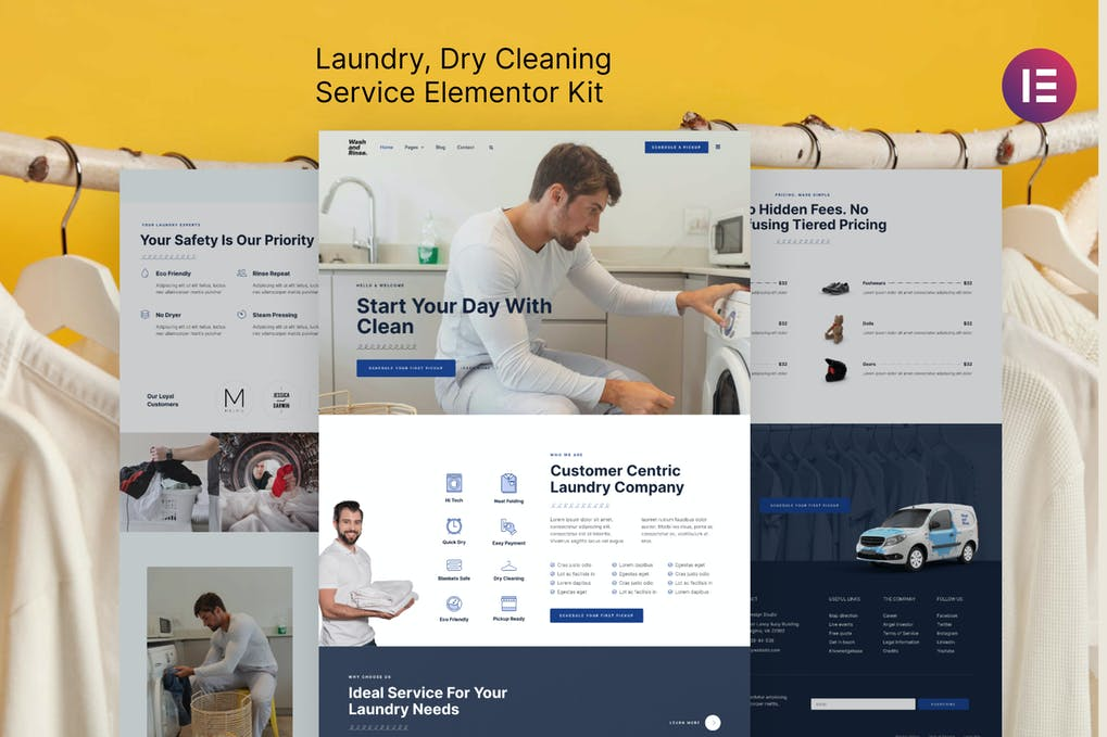 Wash & Rinse Laundry & Dry Cleaning Service Elementor Template Kit