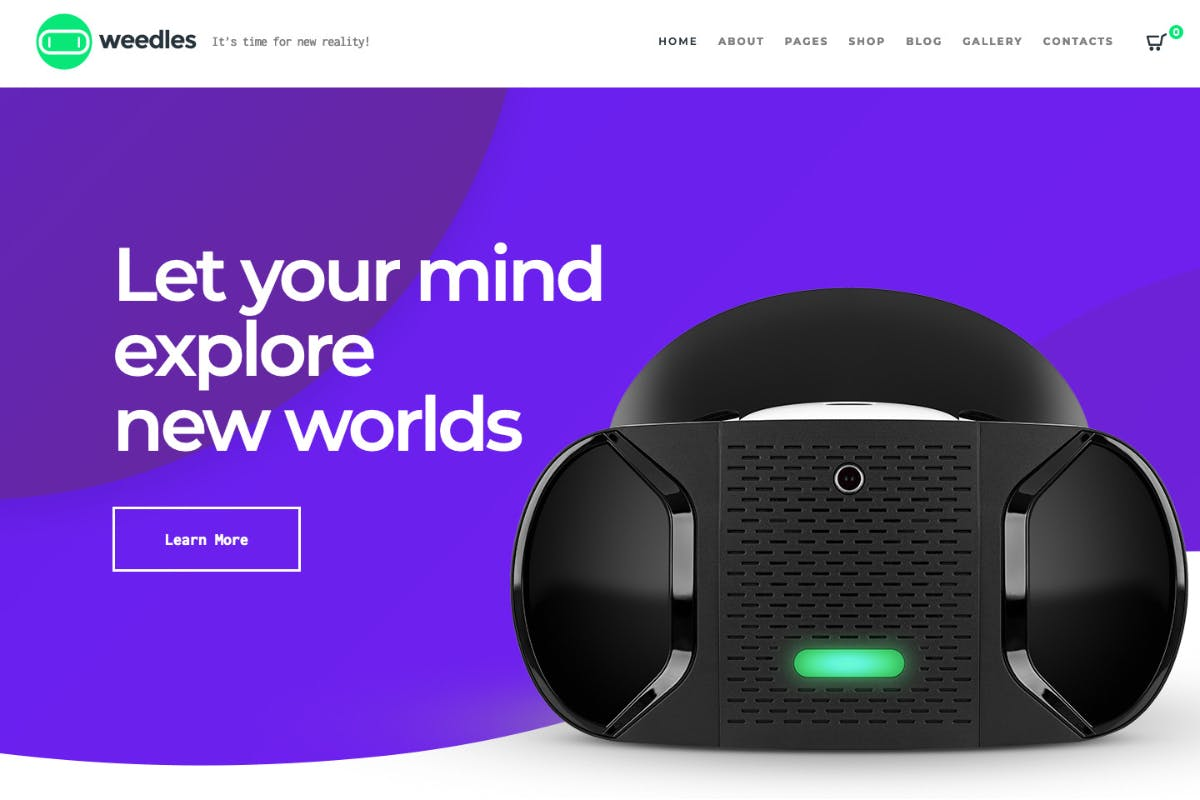 Weedles Virtual Reality Landing Page Store WP