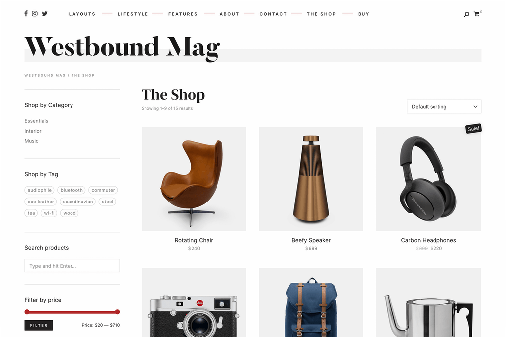 Westbound A Slick Blog and WooCommerce Theme