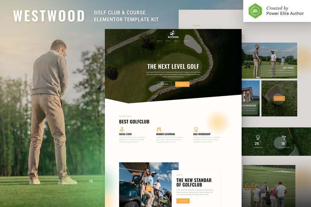 Westwood Golf Club & Course Elementor Template Kit